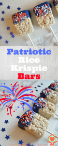 Patriotic Rice Krispie Bars. Perfect for your 4th of July BBQ. Get your kids in the kitchen for these.