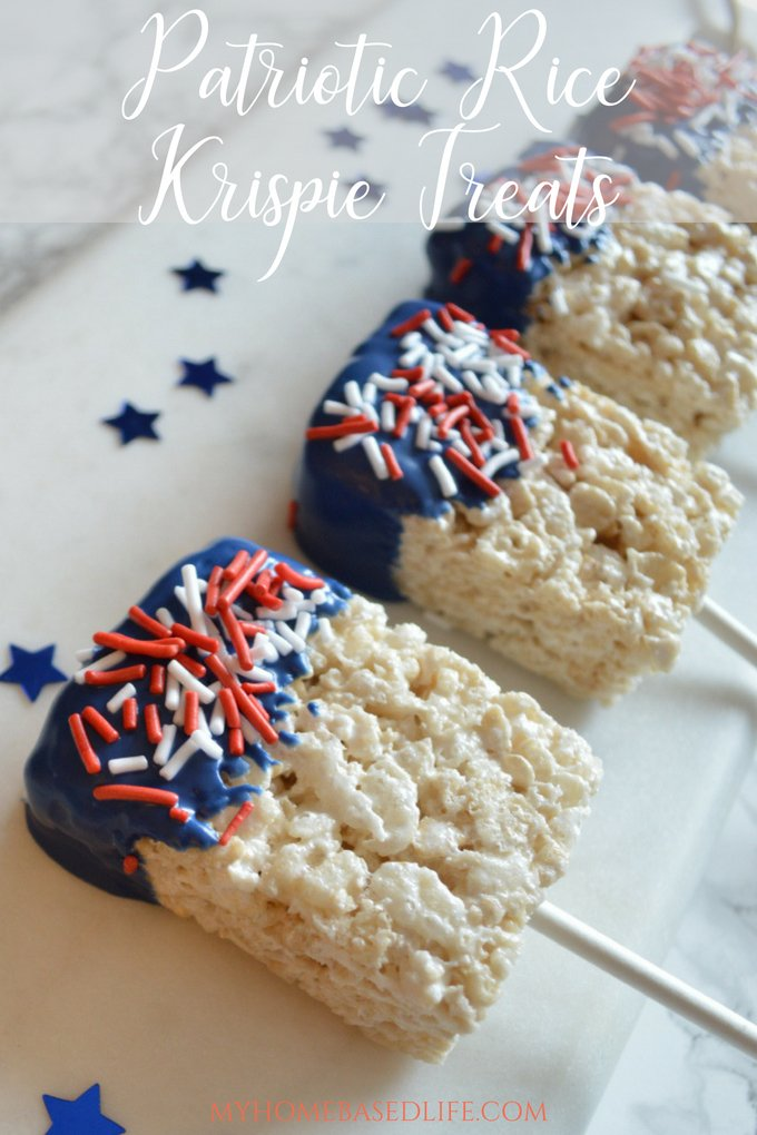 These Patriotic Rice Krispie Bars are a simple and fun treat for summertime BBQ's. Let the kids handle the dessert prep this year. #patriotic #redwhiteblue #bbqdessert #summer #4thofjuly #memorialday #laborday | Dessert Recipe | Snack Recipe | Red White Blue | 4th Of July | Memorial Day | Labor Day | Rice Krispie Treats |