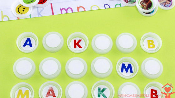Preschool Bottle Cap Letters Matching Game
