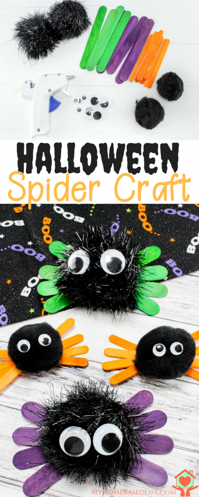 """Kids love to decorate and for holidays so I have put together this """"How To"""" for Halloween Spider Kids Craft for you to do with your munchkins. #halloween #kidscraft #spidercraft #myhomebasedlife   Halloween Decorations   Kids Halloween Crafts   Spider Crafts   Easy Craft for Kids   Simple Spider Crafts"""