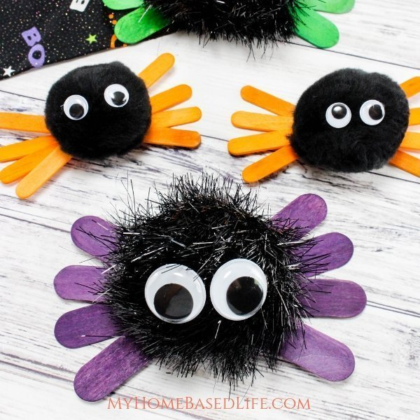 "Kids love to decorate and for holidays so I have put together this ""How To"" for Halloween Spider Kids Craft for you to do with your munchkins. #halloween #kidscraft #spidercraft #myhomebasedlife 