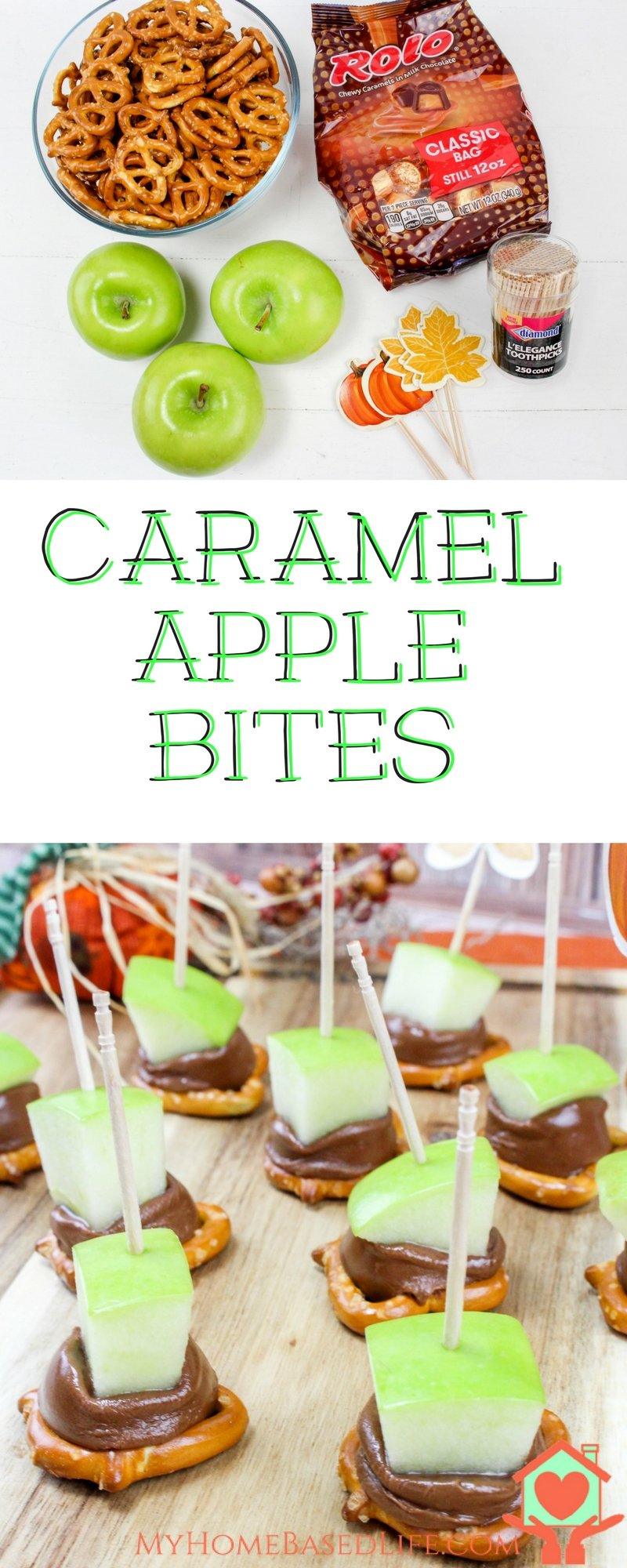 Don't deal with the hassle of trying to eat a caramel apple, make this adorable Caramel Apple Bites instead! The Perfect apple appetizer recipe for fall. #caramelapple #appetizer #fall #applerecipes #myhomebasedlife | Caramel Apple Bites | Apple Desserts | DIY Caramel Apples | Mini Caramel Apples | Caramel Apple Recipe | Fall Apple Recipe | Apple Recipe |