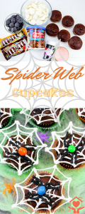 Make these adorable Spider Web Cupcakes in a flash with easy instructions. The perfect dessert idea for spider recipes for your parties. #spiderrecipes #spiderwebcupcakes #dessertidea #halloween | Spider Web Cupcakes | Halloween Cupcakes | Halloween Food | Halloween Party | DIY Halloween | Spider Cupcakes | Spiderweb Cupcakes