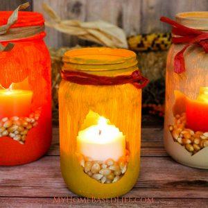 Fall Leaf Mason Jar Luminary DIY