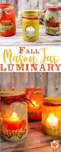 Make your home pretty in a flash with a Fall Leaf Mason Jar Luminary DIY. They're easy to do, and cost just pennies on the dollar! #autumn #homedecor #fall #myhomebasedlife #masonjarcrafts | Fall Leaf Mason Jar Luminary | Luminary DIY | Fall Craft | Easy Fall DIY | Fall Home Decor | Easy Fall Home Decor | Home Decor DIY |