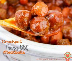 Crockpot Tangy BBQ Meatballs- fb