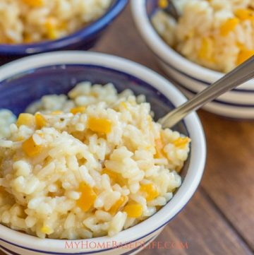 Make dinner in a flash with this easy recipe for Instant Pot Butternut Squash Risotto! It's creamy, delicious and an all-time fave. #recipe #instantpot #sidedish #butternutsquash #risotto #myhomebasedlife | Instant Pot Butternut Squash Risotto Recipe | Risotto Recipe | Instant Pot Recipe | Easy Instant Pot Recipe | Instant Pot Rice | Instant Pot Dinner Recipe | Butternut Squash Recipe