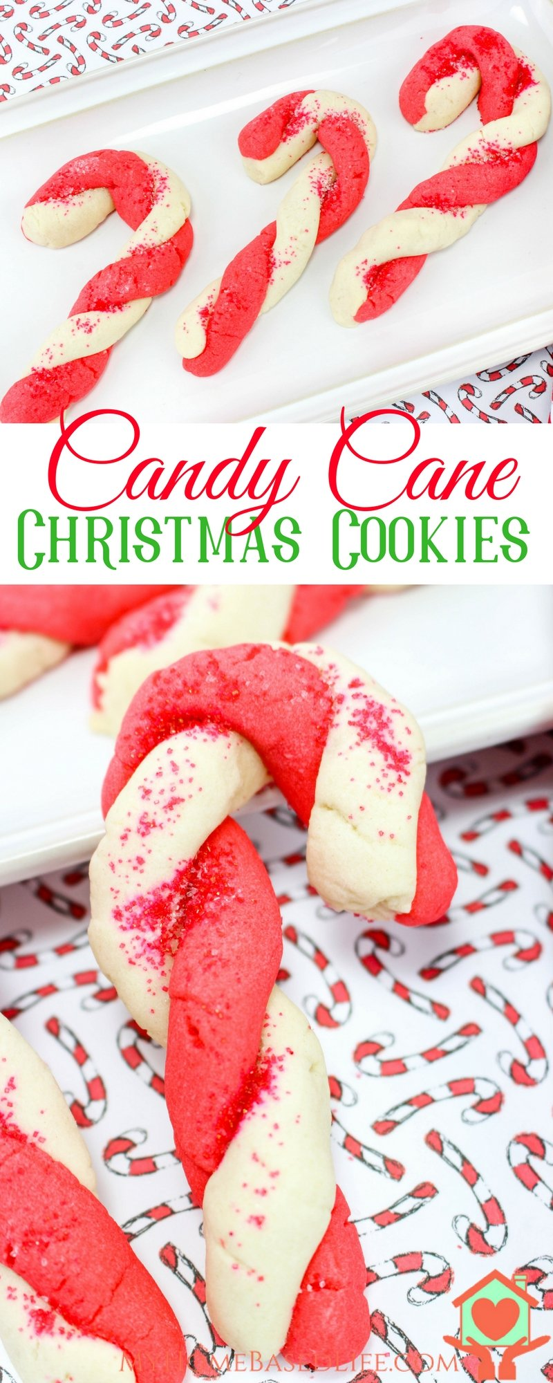 Candy Cane Sugar Cookies | Christmas Sugar Cookies | Christmas Cookies | Peppermint Cookies | Peppermint Dessert Recipe | #christmascookies #cookiesforsanta #peppermintdessert