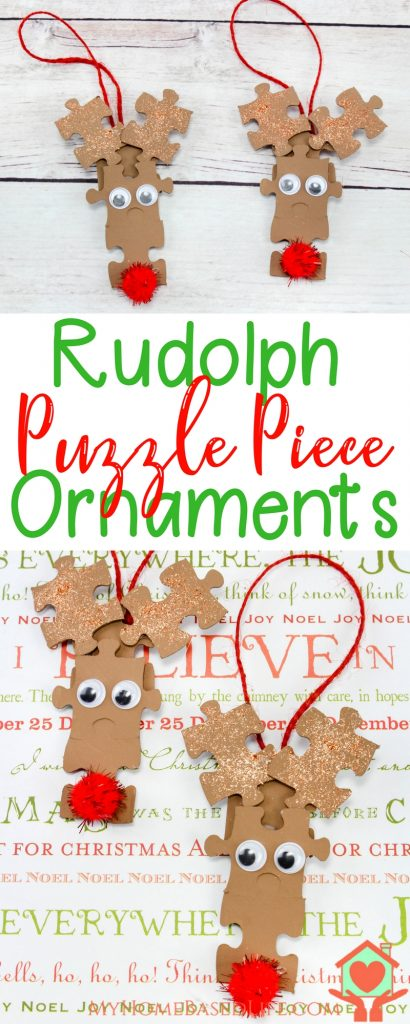 Rudolph Puzzle Piece Ornaments