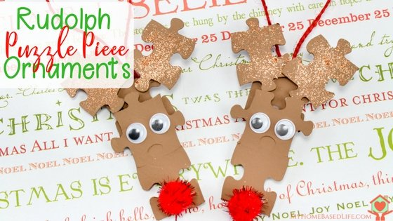Rudolph Puzzle Piece Ornaments