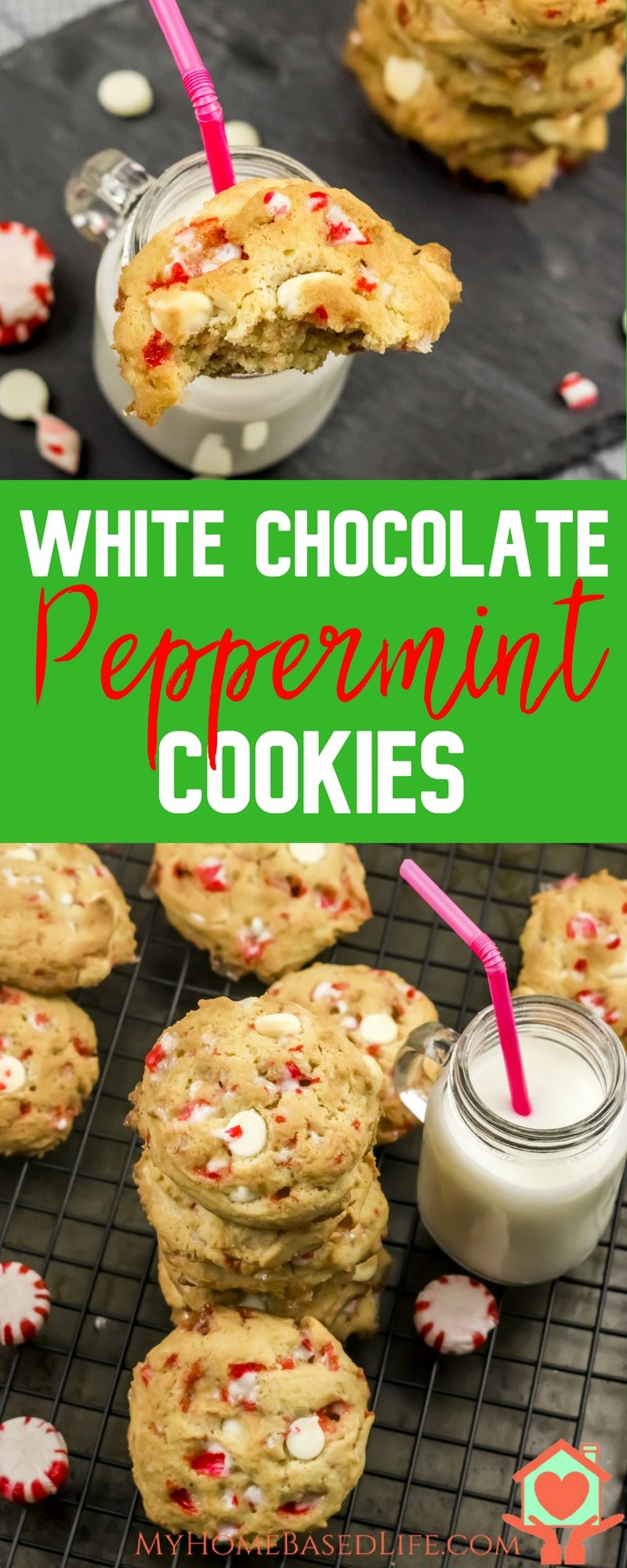 White Chocolate Peppermint Cookies | Cooke Recipe | Christmas Cookie Recipe | Peppermint Cookies | Cookie Exchange Cookies | Christmas Dessert | Peppermint Dessert | #cookieexchange #christmasrecipe