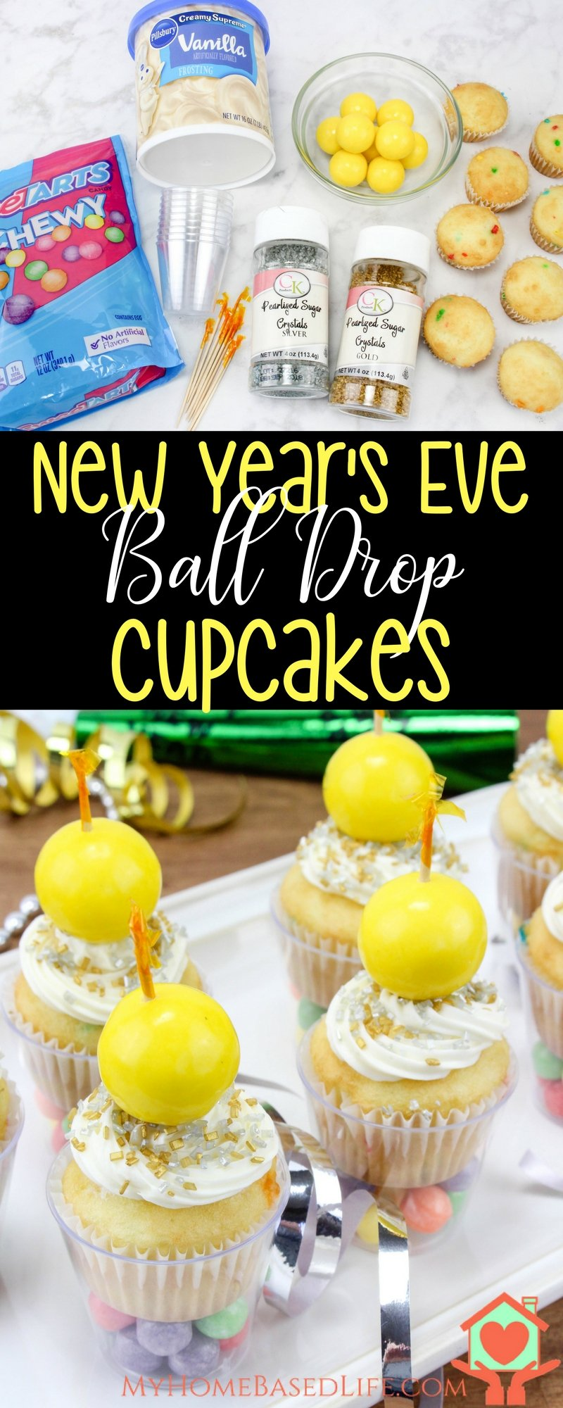 New Year's Ball Drop Cupcakes | New Year's Dessert | New Year's Eve Food | New Year's Party Ideas | New Year's Eve | #newyearseve #newyearsfood