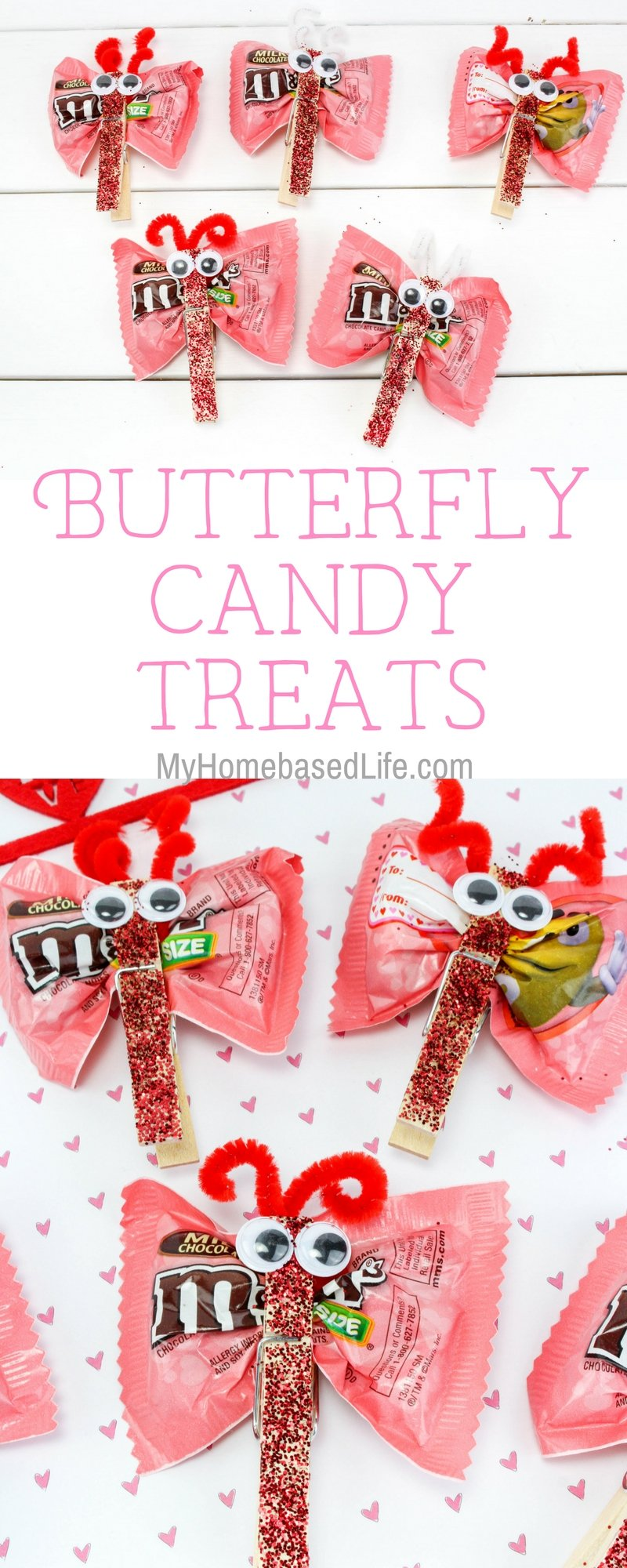 A great DIY for kids that they can take to school and share with classmates.Valentine Candy Love Bugs Craft or Butterfly Treats is the way to go for kid-approved fun. #valentinesday #valentinesdaycraft #butterfly #birthdayparty #myhomebasedlife | Valentine's Day Craft for Kids | Classroom Valentine | Easy Crafts for kids | Simple Crafts for Kids | Valentine Crafts | Love Bugs | Butterfly Treats | Butterfly Crafts
