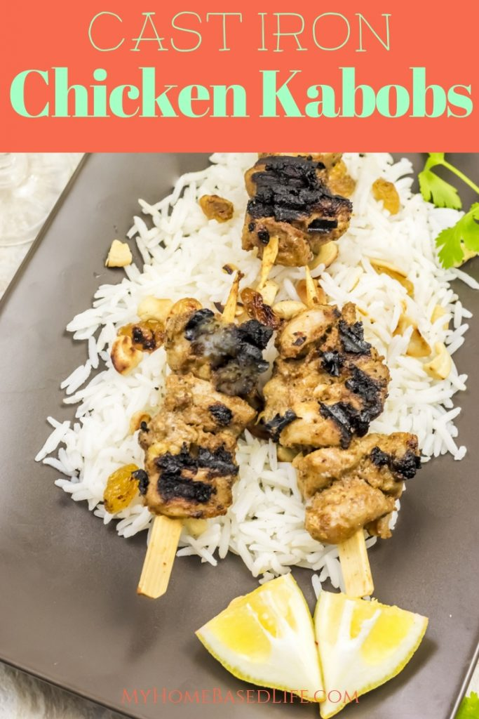 This Cast Iron Grilled Chicken Kabobs recipe is so easy, and delicious! Grill these up right on your stove no matter the weather! #recipe #paleo #glutenfree #castironrecipe #tasty #myhomebasedlife | Cast Iron Grilled Chicken Skewers | Chicken Dinner Recipe | Easy Dinner Recipe | Healthy Dinner Recipe | Grilled Chicken Recipe | Healthy Dinner |