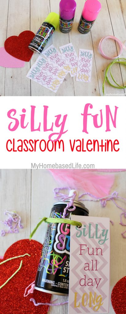 My kids love to take Valentines to school for their parties. This year we decided to have a little fun with it and created Silly FunClassroom Valentines. #valentinesday #classroomvalentines #kids #myhomebasedlife | Classroom Valentines | Non-Candy Valentine | Silly String Activity | #valentinesday | #valentineactivity | Kids Valentines |