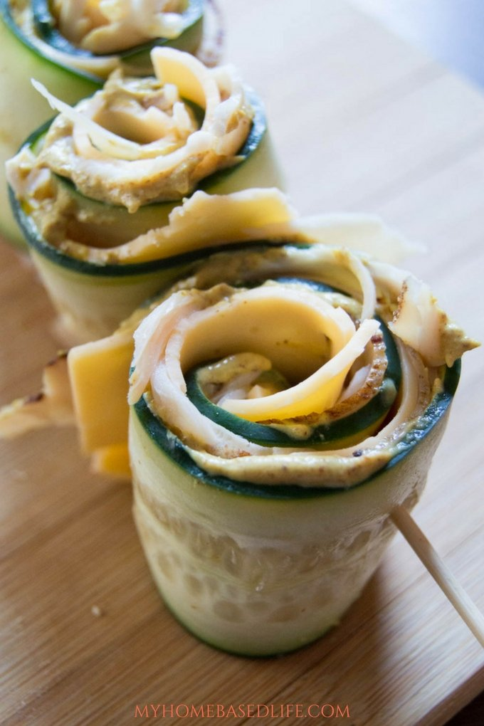 Turkey and Cheese Cucumber Roll Ups Recipe