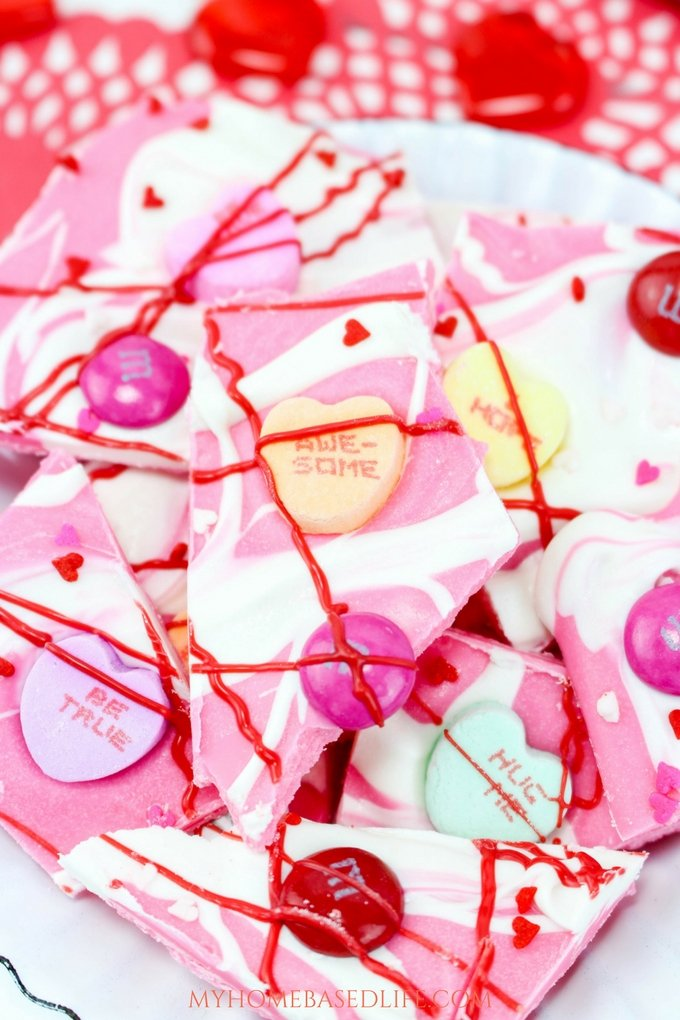 If you are in need of a simple and easy dessert option my Valentine's Day Bark recipe is it. It is ready in just minutes and sure to be a hit with everyone. #valentinesday #recipe #tasty #chocolate #dessert #myhomebasedlife #valentinesdayrecipe | Bark Recipe | Dessert Recipe | Valentine's Day Dessert | Valentine's Day Bark |