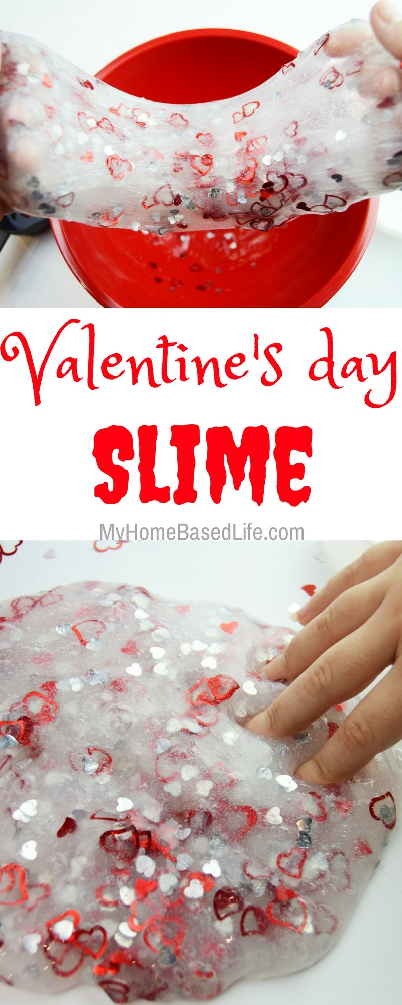 Make Valentine's Day fun for your kids by making this Valentine Slime! My kids love it, and I'm sure your kids will love it too! | Valentine Slime | Slime Recipe | Valentine Kids Activity | Valentine Craft | Valentine DIY | Valentine Kids DIY | Valentine Slime Recipe | #valentinesday #valentinescraft #valentineslime