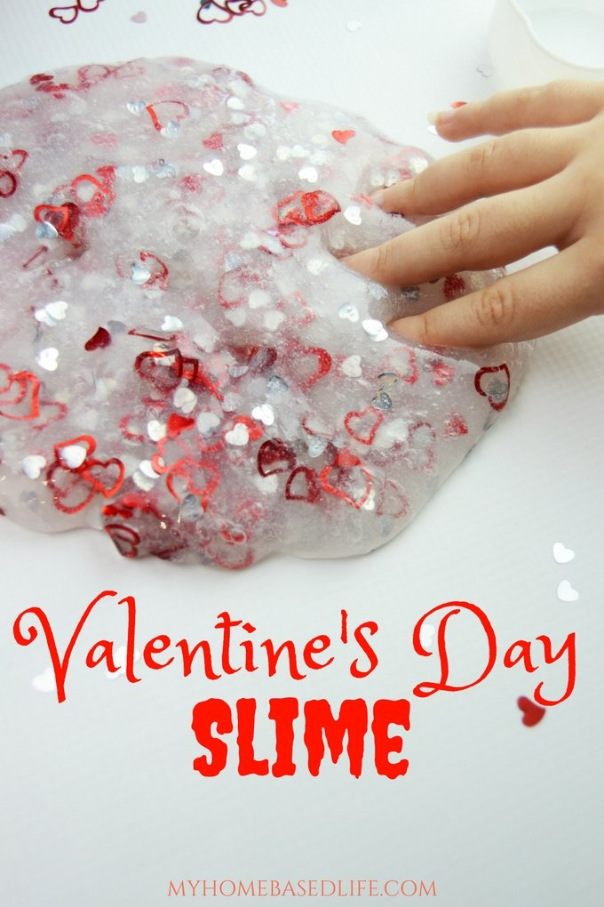 Make Valentine's Day fun for your kids by making this Valentine Slime! My kids love it, and I'm sure your kids will love it too! #valentinesday #slimerecipe #kids #kidscraft #kidsactivity #myhomebasedlife | Valentine Slime | Slime Recipe | Valentine Kids Activity | Valentine Craft | Valentine DIY | Valentine Kids DIY | Valentine Slime Recipe |