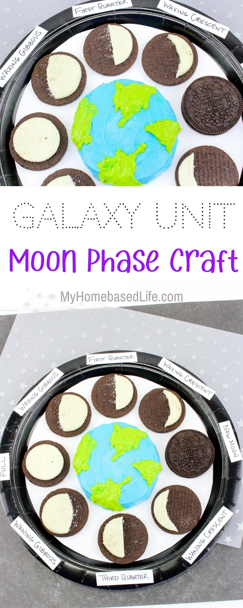 Galaxy Unit: Moon Phases Learning Craft. A great fun way to teach children the moon phases that is edible too! Print your free educational worksheets that go along with this kids activity. | #homeschoolworksheets | #kidsactivity | #kidscraft | Kids Craft | Kids Activity | Kids Science Lesson | Homeschool Activity | Homeschool Worksheets | Solar System Activity | Moon Phases Craft for kids |