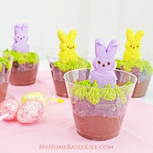 A fun chocolate dessert for kids this Easter featuring Peeps. This recipe makes you a total of 5 peeps pudding cups for the kids to enjoy. #easter #desserts #forkids #peeps #myhomebasedlife | Easter Dessert Recipe | Dessert Recipe | Peeps Recipe | Pudding Cups | Chocolate | Easy Dessert Idea | Simple Dessert for Kids