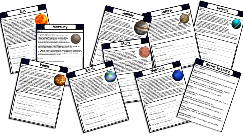 Galaxy Unit Space Planets WorkBook