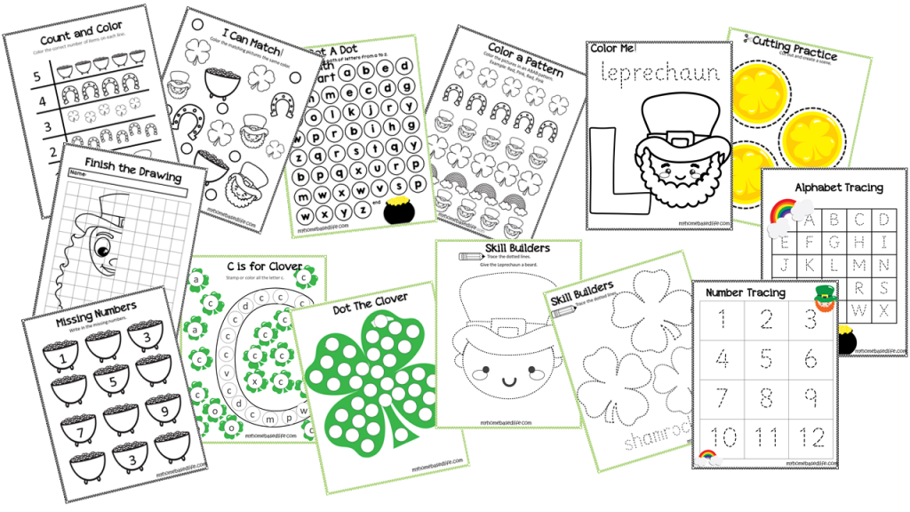 50 Page St. Patrick's Day Preschool Activity Book My Home Based Life