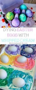 This year we wanted to try a few different things. Dying easter egg with whipped cream seemed like an easy way to color eggs without the big mess of other ways. #easter #eastereggs #kidsactivity #holidayfun #dyingeastereggs #myhomebasedlife | Easter | Easter Activity For Kids | Dying Easter Eggs | Ways to dye Easter eggs | Hardboiled Eggs |