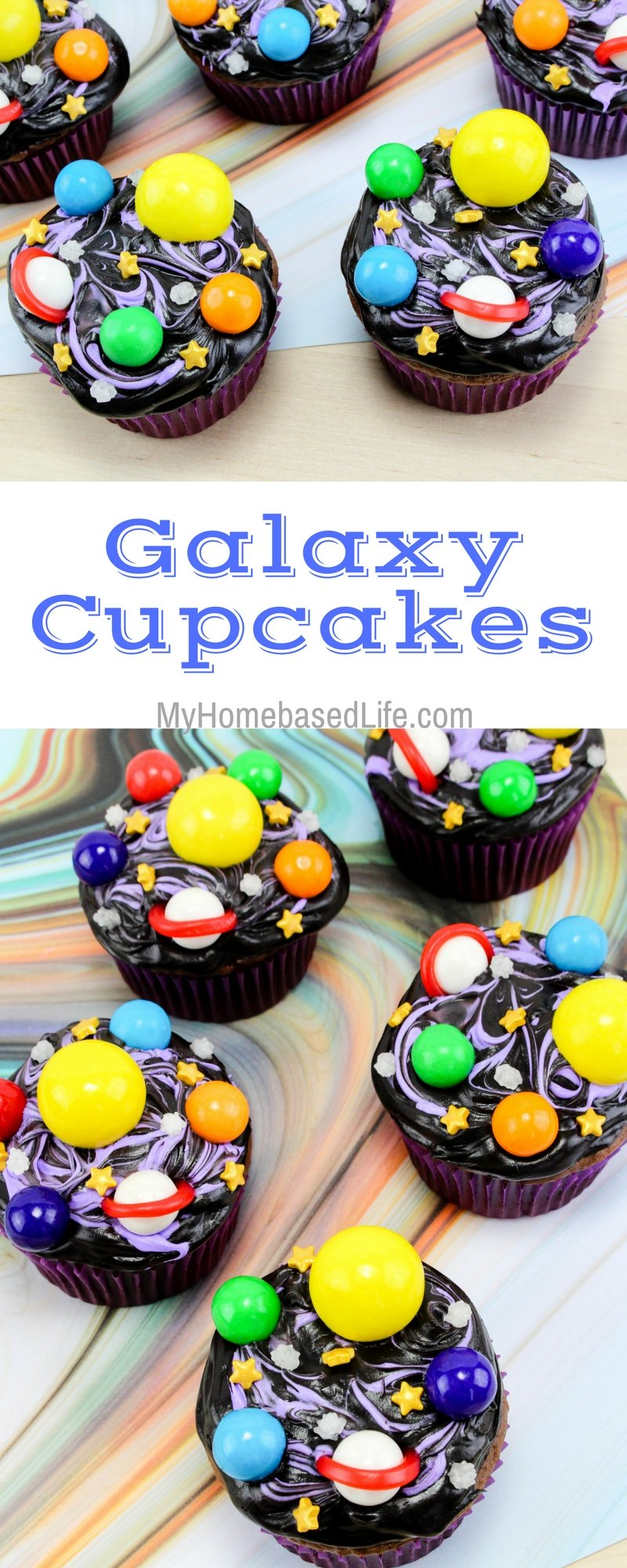 There is really no right or wrong way to decorate these galaxy cupcakes so let their creative minds run free. It's exciting to see what your kids create. #galaxy #cupcakes #recipe #fooddecor #spacethemed | Galaxy Unit Ideas | Homeschool Activities | Easy recipes for kids | Dessert Recipe | Cupcakes Recipe | Chocolate Cupcakes |