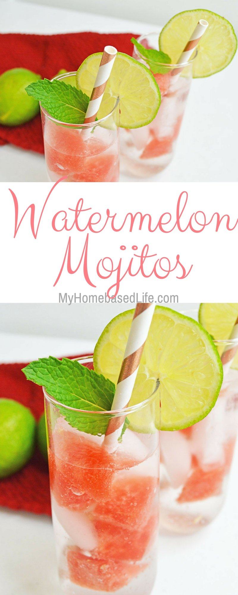 Rethink your girl's nights and start having fun right at home! These Watermelon Mojito cocktails are perfect for get-togethers. #cocktail #mixeddrinks #mojitos | Cocktail Recipes | Mojito Recipes | Summer Drinks | Girls Night |