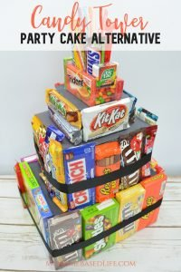 Who doesn't love candy? You can make this Candy Tower in place of a pinata. Everyone gets a chance to get candy and it's no leftovers. Don't worry busy moms, this is going to make your life a whole lot easier. #cakealternitive #birthday #candy #diy | Birthday Party Cake Ideas | Cake Ideas | Cake Alternatives | DIY | Candy |