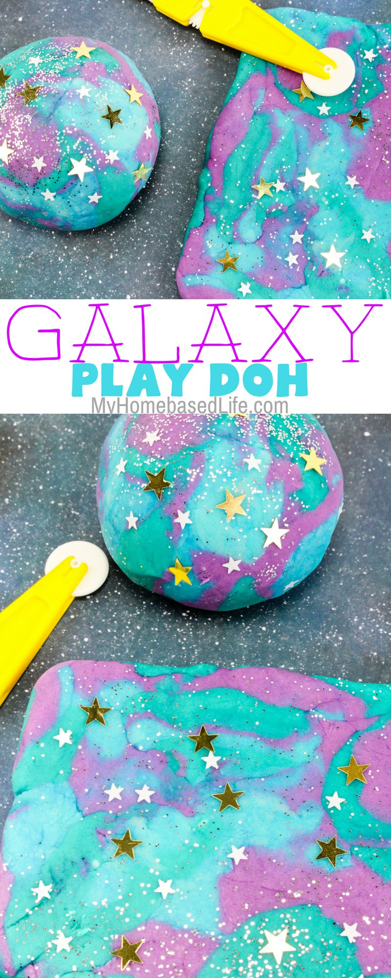 Plan a space night with the help of this Galaxy Play Doh recipe. Ask your kids how many stars and planets they see in theirs. Hours of fun right here! #homeschoolactivity #playdoh #kidsdiy #diy #galaxy #myhomebasedlife | Galaxy Themed | Homeschool DIY | DIY | DIY for Kids | Easy Kids Activity | Parenting | Learning through Play | For Kids |