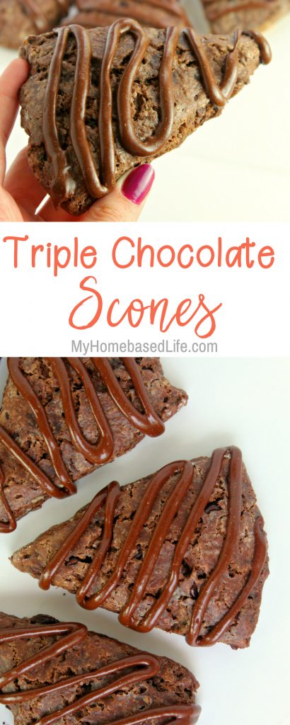 These are the knock your socks off kind of scones. These are Triple Chocolate Scones the bakery on the corner may buy from you. #scones #chocolate #dessert #breakfast #tasty | Breakfast Scones | Scones Recipe | Dessert Recipe | Chocolate Recipe |