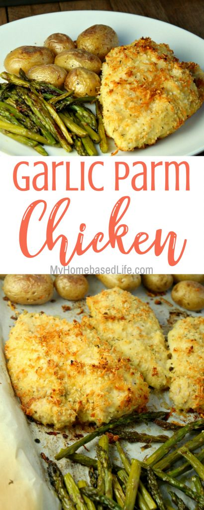 As a busy parent, let dinner be quick and easy. This Garlic Parmesan Chicken Recipe is everything you could ask for in a sheet pan recipe. #sheetpanrecipe #dinner #busyfamilymeal #chicken #myhomebasedlife | Sheet Pan Recipes | Easy Weeknight Dinner Ideas | Dinner Ideas | Chicken Recipes |