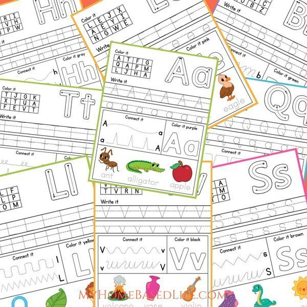 Print these Alphabet Printables out to help your child get ready for the first year of preschool or kindergarten. These printables make learning fun! #homeschoolprintables #preschool #kindergarten #alphabet #education #myhomebasedlife | HomeSchooling Worksheets | Preschool Printables | Kindergarten Printables | Learning the Alphabet Activities |