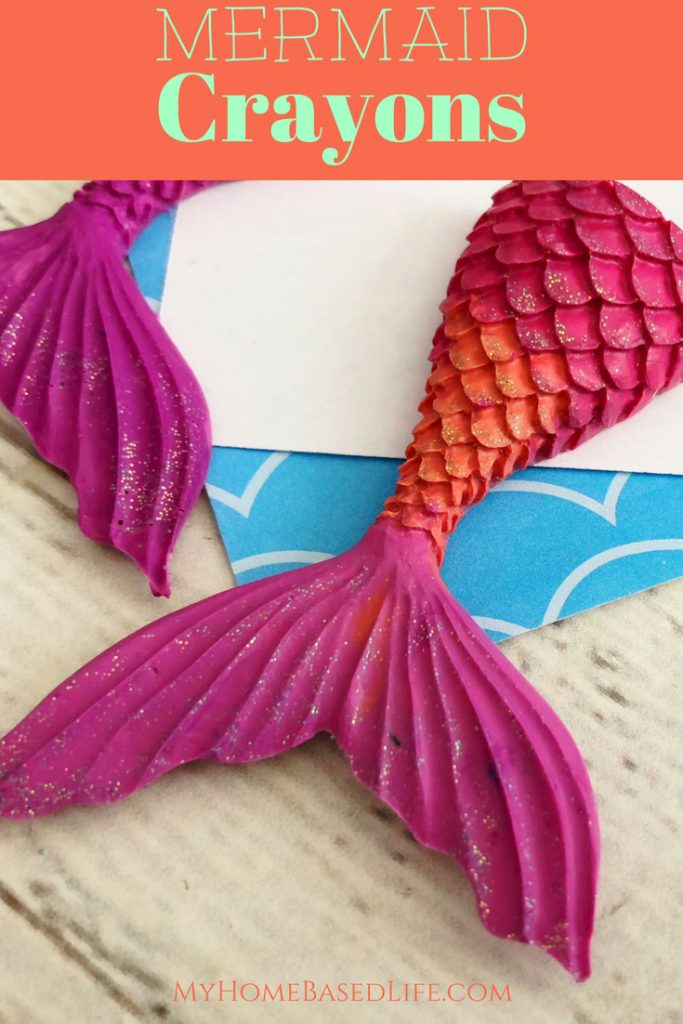 A great way to use up broken crayon pieces. Make Mermaid Crayons! If you're having a mermaid themed party, then you need to make these! #mermaid #crayons #upcycle #reuse #diy #forkids   Kids Craft   Easy Kids Activity   Upcycle   Reuse   Crayon Activity   Mermaid Activity for Kids  