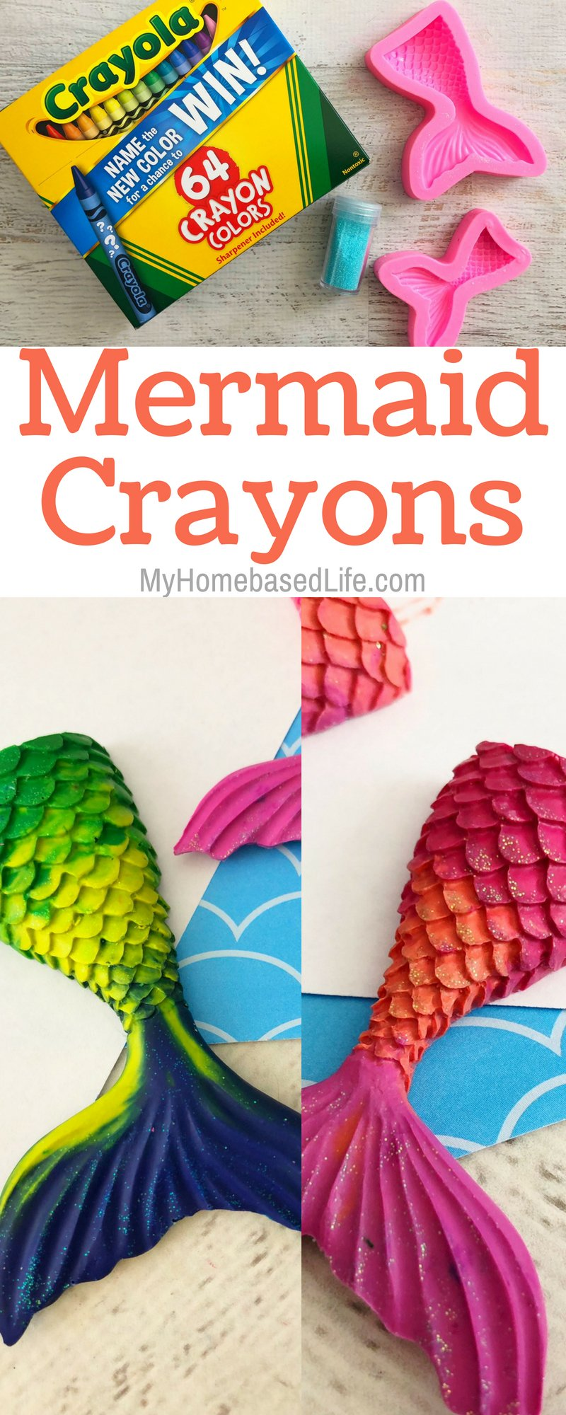 A great way to use up broken crayon pieces. Make Mermaid Crayons! If you're having a mermaid themed party, then you need to make these! #mermaid #crayons #upcycle #reuse #diy #forkids | Kids Craft | Easy Kids Activity | Upcycle | Reuse | Crayon Activity | Mermaid Activity for Kids |