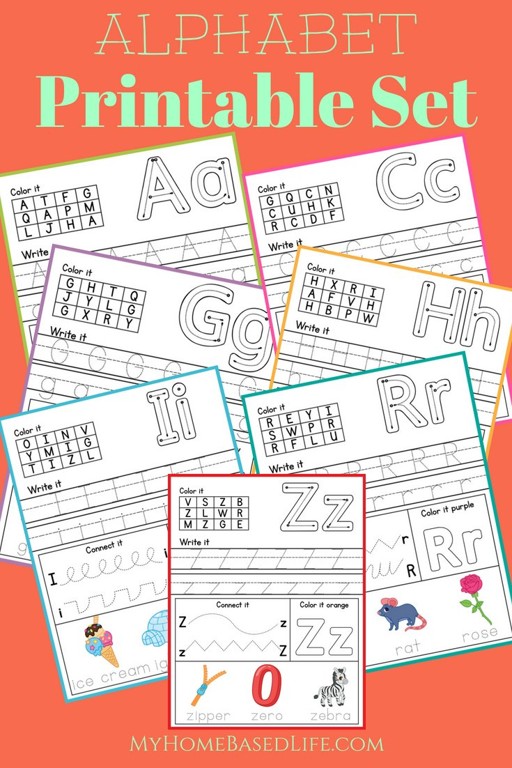 Print these Alphabet Printables out to help your child get ready for the first year of preschool or kindergarten. These printables make learning fun! #homeschoolprintables #preschool #kindergarten #alphabet #education #myhomebasedlife   HomeSchooling Worksheets   Preschool Printables   Kindergarten Printables   Learning the Alphabet Activities  