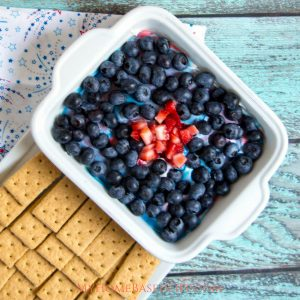 With the upcoming 4th of July holiday, I knew I had to create an amazing dessert recipe for us and this Red White and Blue Cheesecake Dip was it! #cheesecakedip #redwhiteblue #diprecipe #dessert | Dessert Recipes | Dip Recipes | Red White Blue Foods | Patriotic Recipes | Cheesecake Recipes