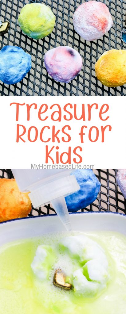 You'll love how inexpensive this activity. Have fun watching the kids dig into their treasure rocks. Small 4 item supply list and you're ready to go! #kidscraft #science #treasure #myhomebasedlife   Kids Crafts   Simple Kids Activities   Science Experiments   Easy Activities for kids