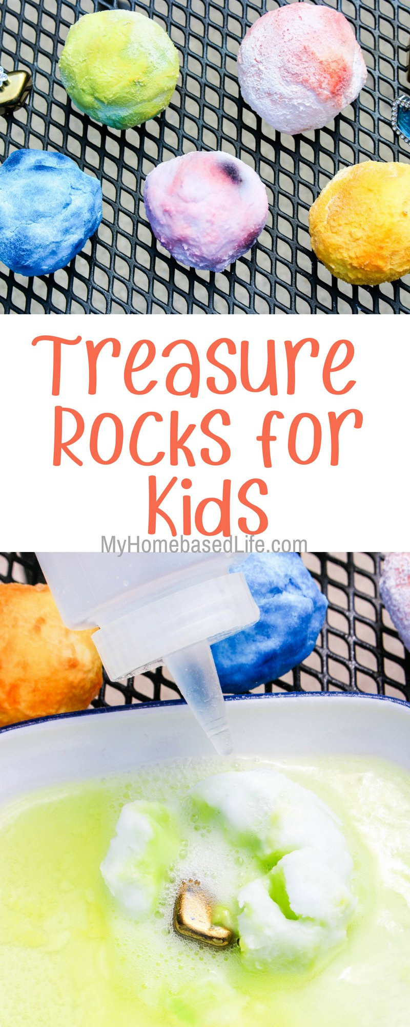 You'll love how inexpensive this activity. Have fun watching the kids dig into their treasure rocks. Small 4 item supply list and you're ready to go! #kidscraft #science #treasure #myhomebasedlife | Kids Crafts | Simple Kids Activities | Science Experiments | Easy Activities for kids