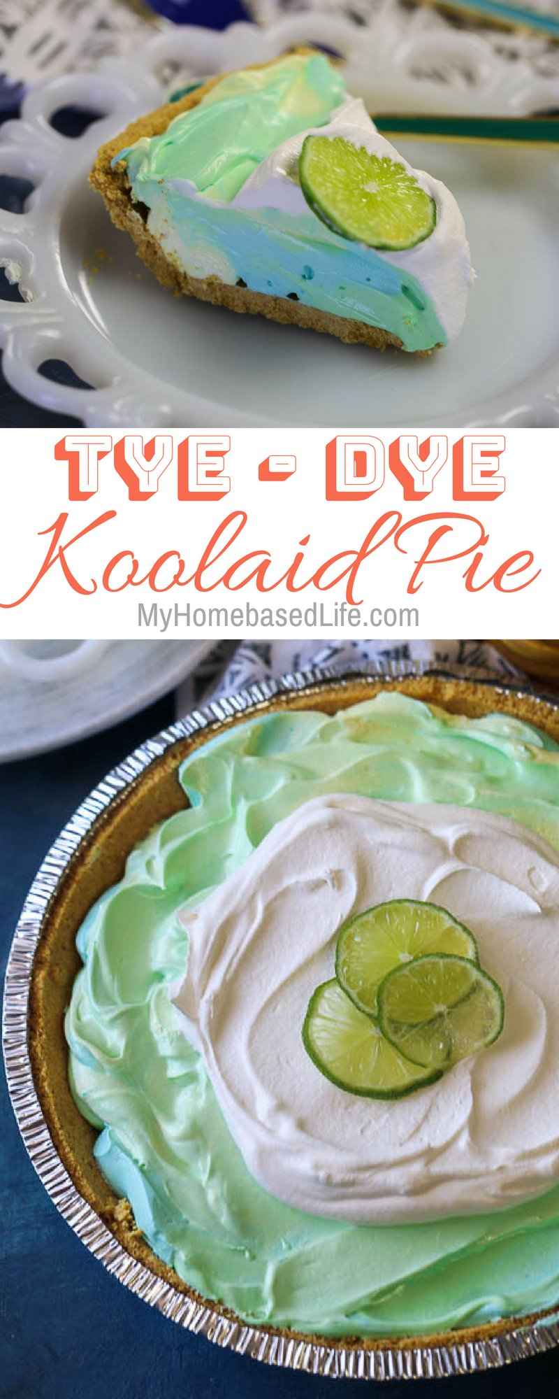 The perfect summer recipe for picnics or for just enjoying as a family. This Tye-Dye KoolAid Pie works great with Easter and Earth Day as well! #koolaidpie #pierecipe #dessert #tasty #myhomebasedlife   Pie Recipes   Dessert Recipes   Summer Recipes   Earth Day Recipe   Easter Dessert  