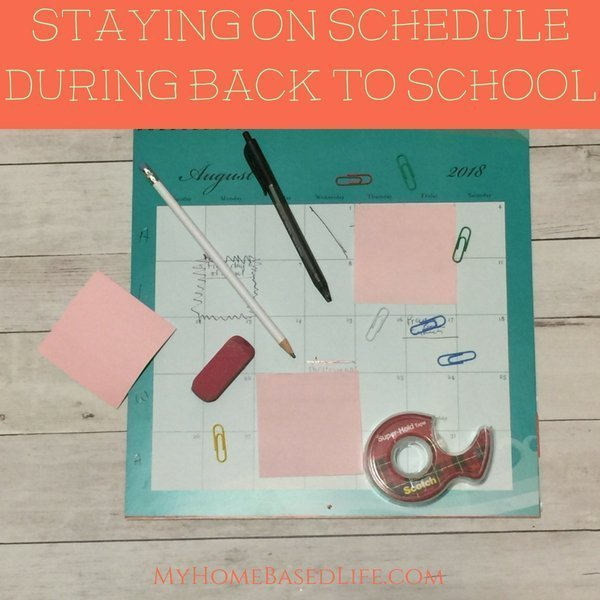 While getting ready for back to school, it's easy to let things go! Here are a few tips to stay on schedule during the back to school rush. #backtoschool #organization #ad #myhomebasedlife | Organization Hacks | Back To School Schedules | Back To School Organization | Mom Hacks | Parenting