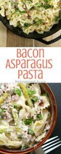 Looking for a side dish the whole family will enjoy that doesn't take a lot of prep? That's this Bacon Asparagus Pasta recipe! #bacon #asparagus #pasta #sidedish #myhomebasedlife   Side Dish Recipes   Bacon Recipes   Asparagus Recipes   Video Tutorial   Pasta Salad Recipe