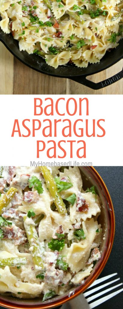 Looking for a side dish the whole family will enjoy that doesn't take a lot of prep? That's this Bacon Asparagus Pasta recipe! #bacon #asparagus #pasta #sidedish #myhomebasedlife | Side Dish Recipes | Bacon Recipes | Asparagus Recipes | Video Tutorial | Pasta Salad Recipe