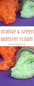Monster Floamis what you need to keep the kids occupied. So easy to make and the fun lasts longer than 15 minutes! Give it a try with this recipe. #floam #monsters #kidsactivity #kids #creative #myhomebasedlife | Kids Activities | Floam Recipes | Monster Activities |
