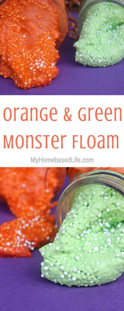 Monster Floam is what you need to keep the kids occupied. So easy to make and the fun lasts longer than 15 minutes! Give it a try with this recipe. #floam #monsters #kidsactivity #kids #creative #myhomebasedlife | Kids Activities | Floam Recipes | Monster Activities |