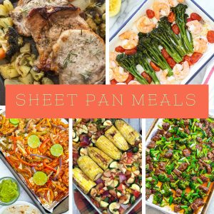 Putting everything in one pan and placing it in the oven is as easy as it gets! These Sheet Pan Dinners will lessen the stress of dinner time. #dinner #sheetpanrecipes #onepanrecipes #myhomebasedlife | Sheet Pan Recipes | Dinner Recipes | One Pan Recipes | Easy Dinner Ideas