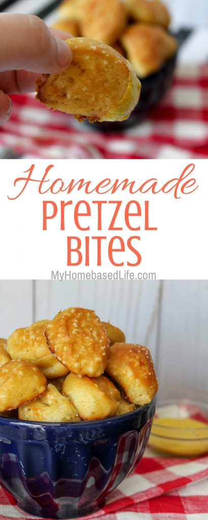 These Pretzel Bites are a great go-to for snacks and won't ruin dinner later. Made from scratch with everyday ingredients, they are kids approved hit. #snacks #pretzels #homemade #tasty #myhomebasedlife | Pretzel Recipes | Homemade Pretzels | Recipes from Scratch | Kid Approved Snacks