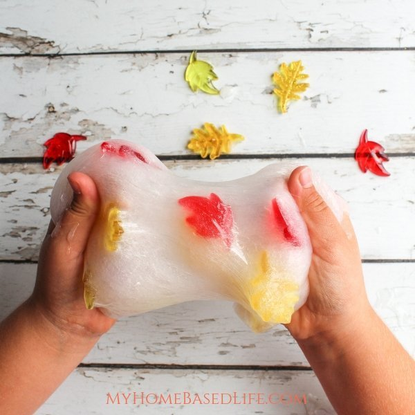 A Slime for the Fall Season. This Fall Slime is so simple your kids can whip it up themselves. Get creative with your Falling Leaves Slime this year. #fall #slime #kidsactivity #diy #parenting #myhomebasedlife | Slime Recipes | Fall DIY | Fall Kids Activities | Easy Fall Activities for Kids